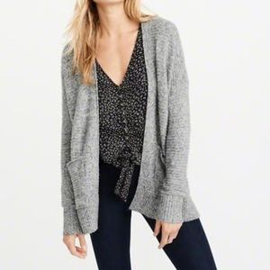 A&F Lightweight Easy Cardigan, Marled Grey, XS NEW
